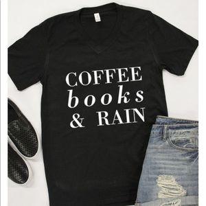 Tops - Coffee Books & Rain Graphic Tee; XL; Runs big!!!
